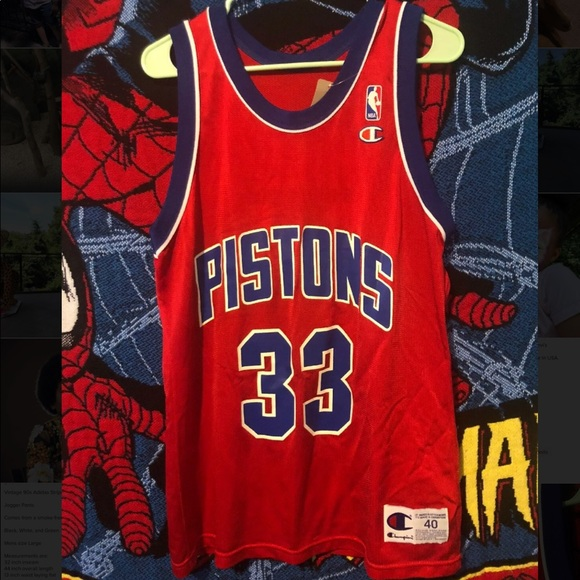 save off 82173 83cda Detroit Pistons Grant Hill Champion Jersey 40 M